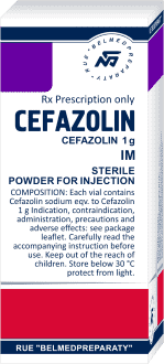 Cefazolin, powder for solution for intravenous and intramuscular injection 500 mg and 1000 mg