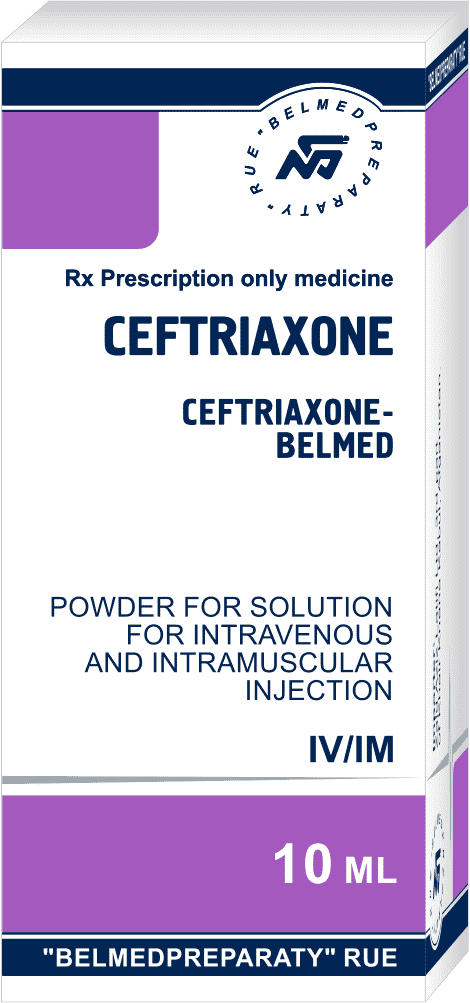 Ceftriaxone, powder for solution for intravenous and intramuscular injection 500 mg and 1000 mg